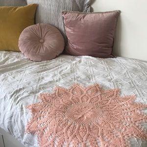 Vintage pink handmade round doily